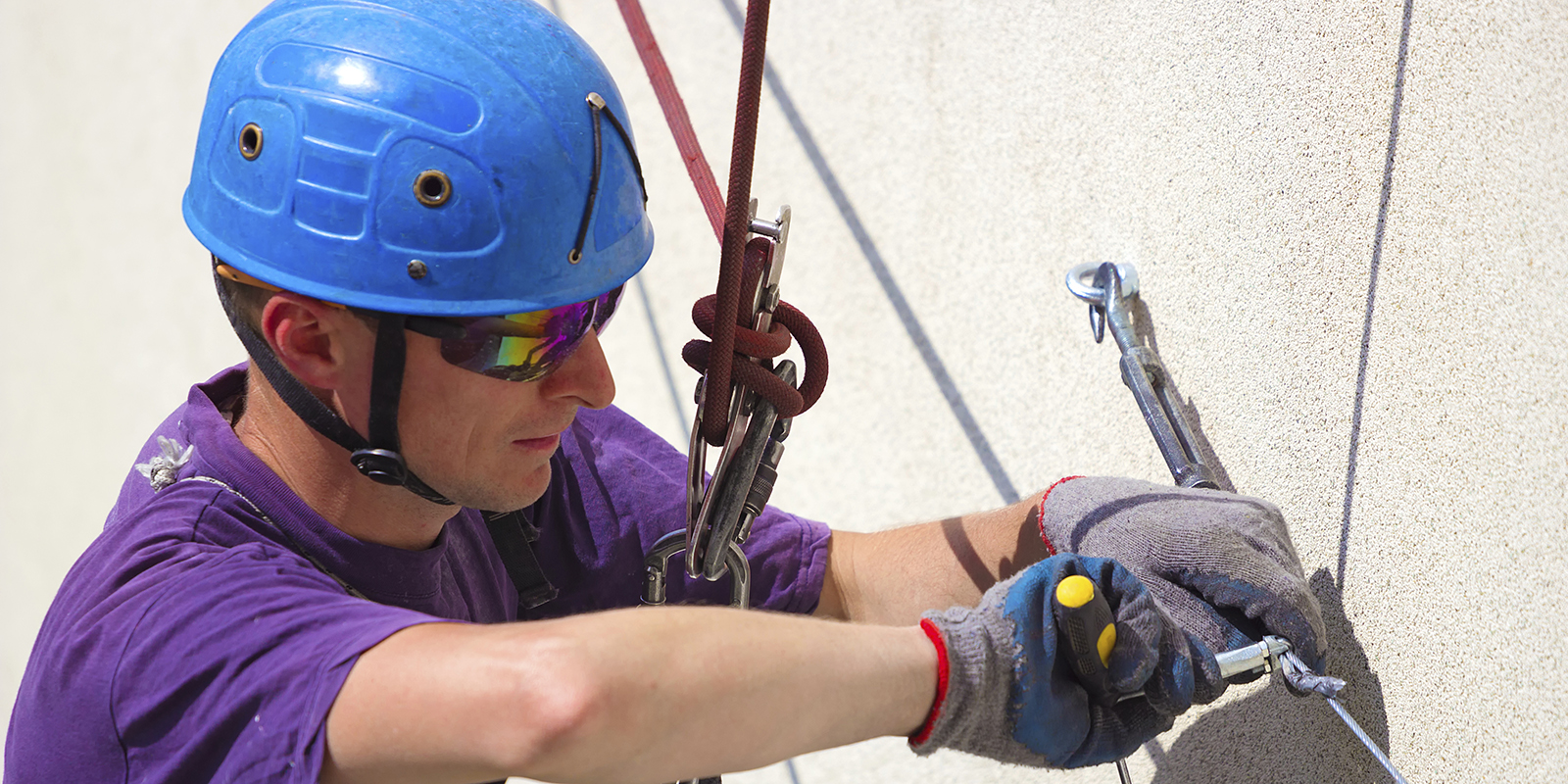 someone taking part in an abseil