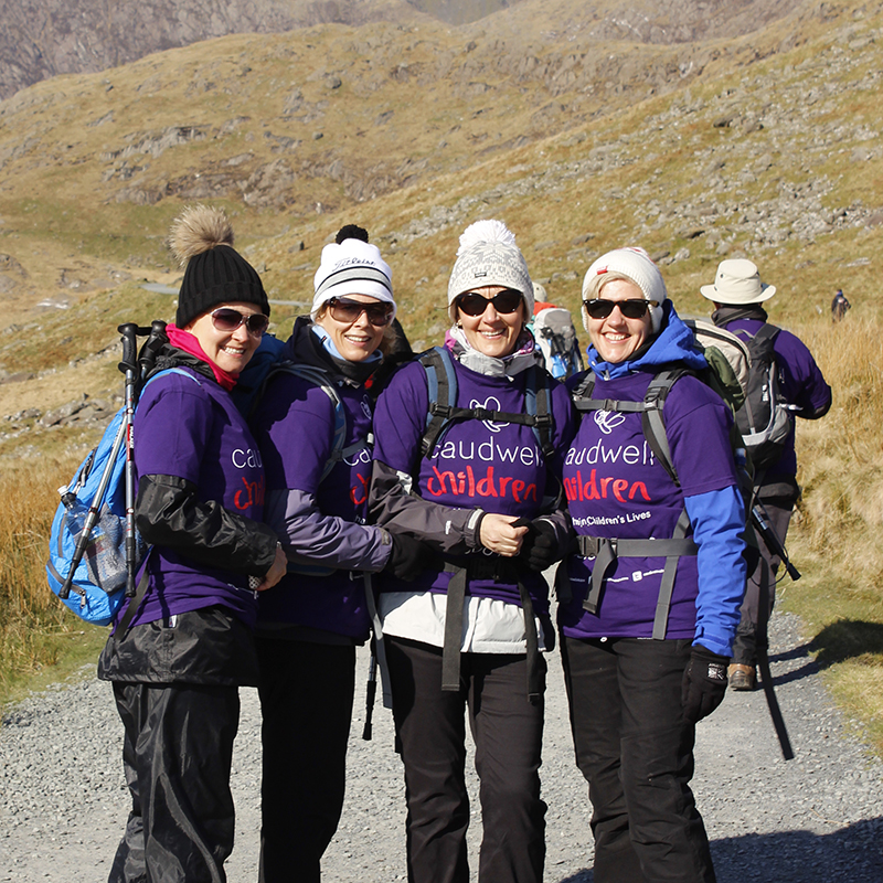 Four Ladies climbing Scafell Pike