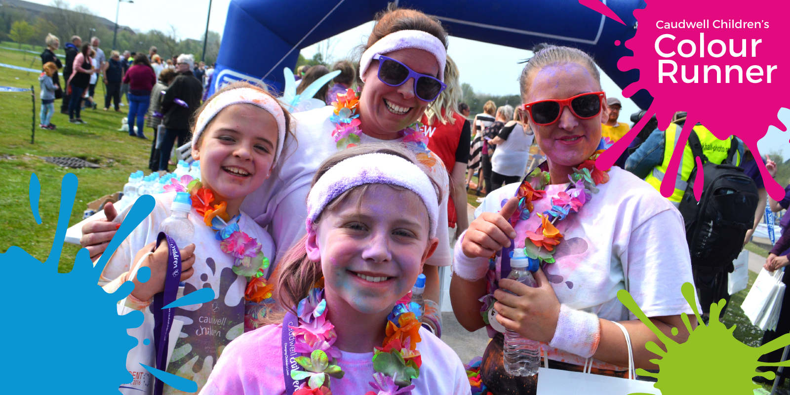 a family at the Colour Runner