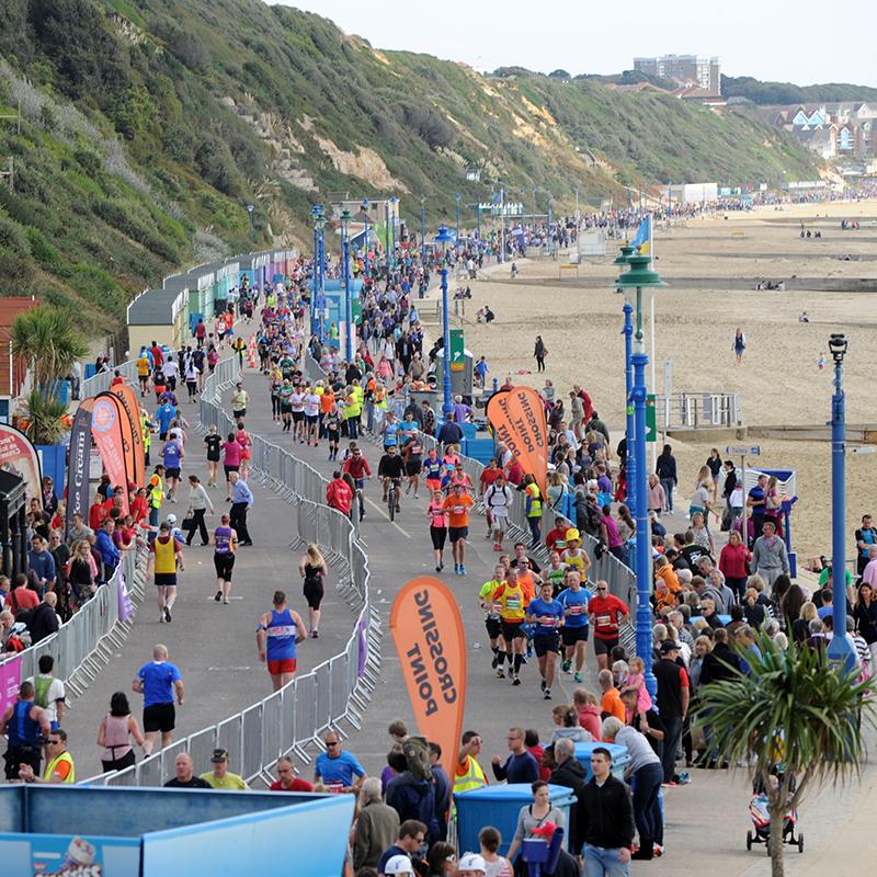 view from above of the Bournemouth half marathon